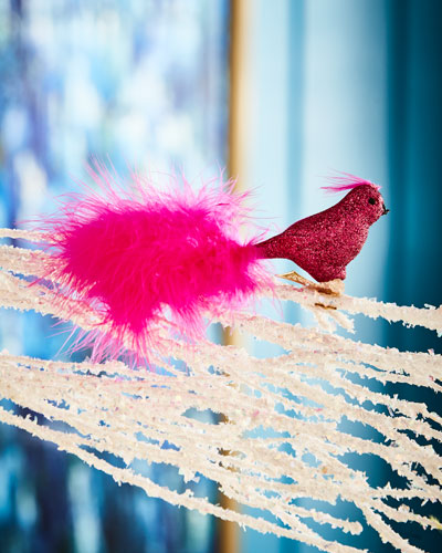 Playful Brights Collection Hot Pink Bird Clip Ornament
