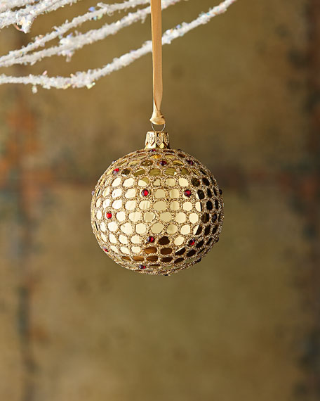Gold & Glitter Collection Clear with Glitter Crisscross Ornament