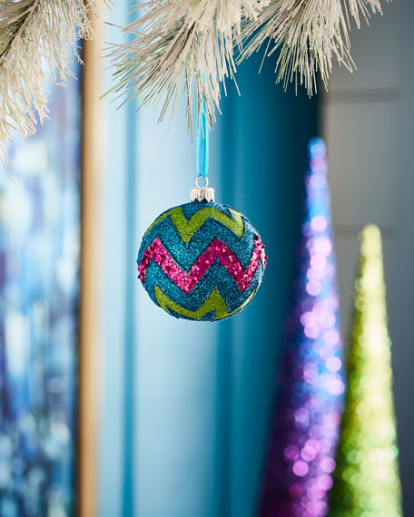 Playful Brights Collection Multi-Glitter Chevron Ornament