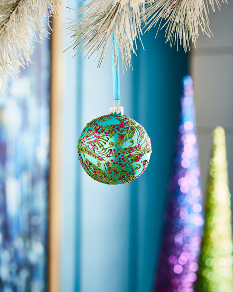 Playful Brights Collection Matte Turquoise/Pink Berries Ornament