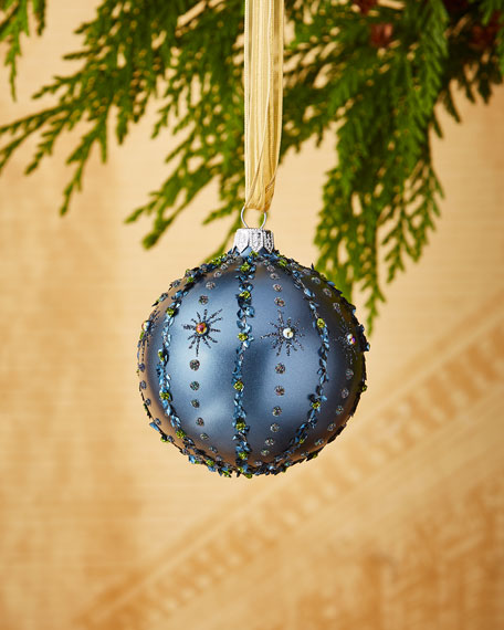 Iridescent Blue/Stripes Ornament