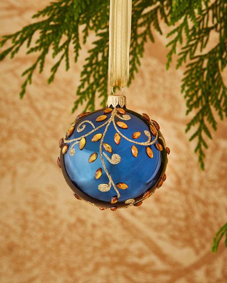 Shiny Dark Blue/Vine Ornament