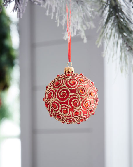 """Shiny Ball Ornament with Scroll Detail, 3"""""""