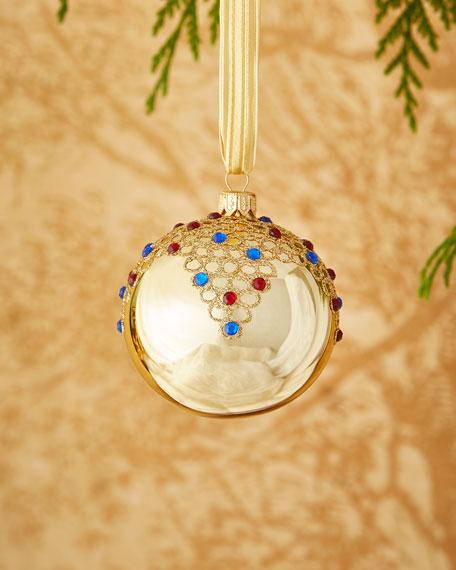 Shiny Goldtone/Faux-Jewel Ornament
