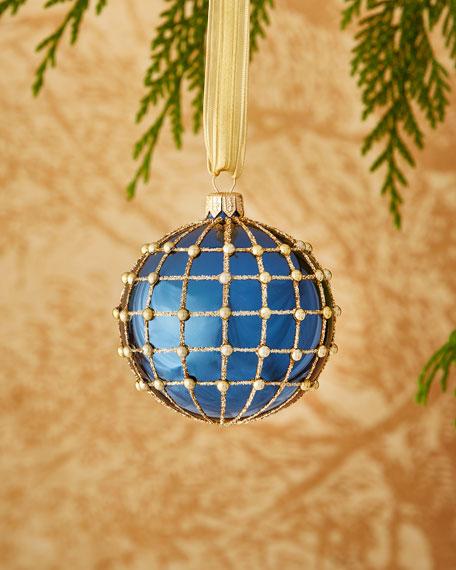 Shiny Blue/Goldtone Ornament