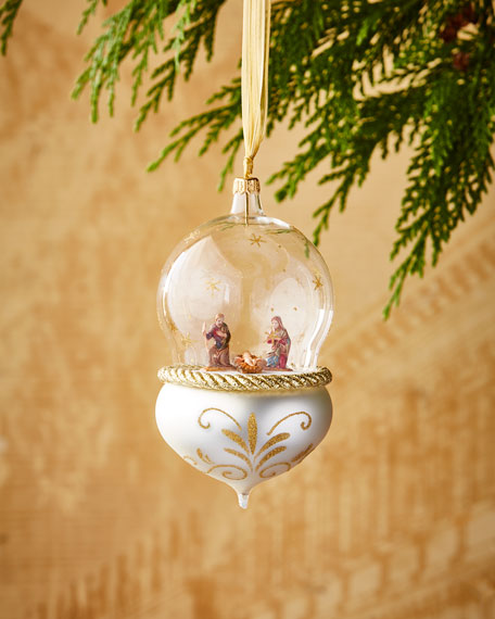 De Carlini Nativity in Globe Christmas Ornament