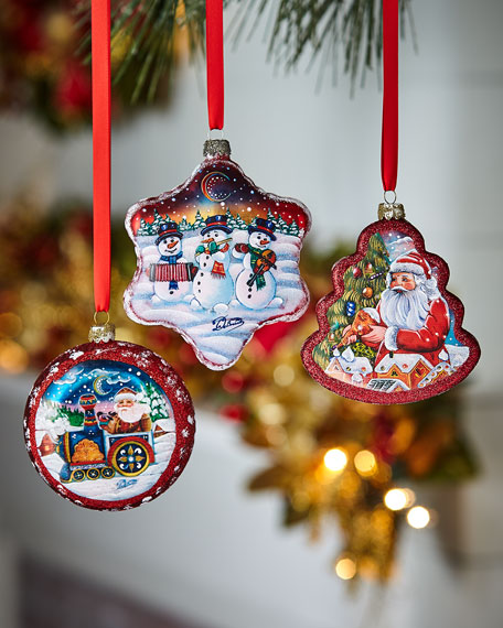 G. Debrekht Christmas Ornaments, Set of 3