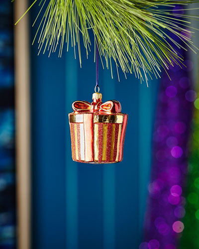 Red & Green Collection Golden Present Ornament