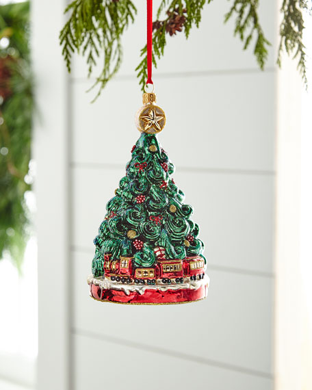 Red & Green Collection Tree with Train Ornament