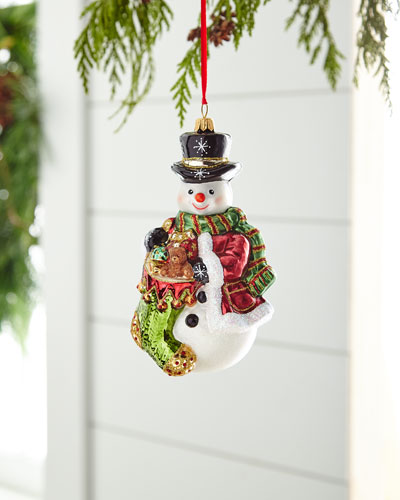 Red & Green Collection Snowman Ornament