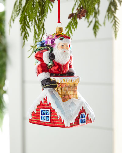 Red & Green Collection Santa in Chimney Ornament
