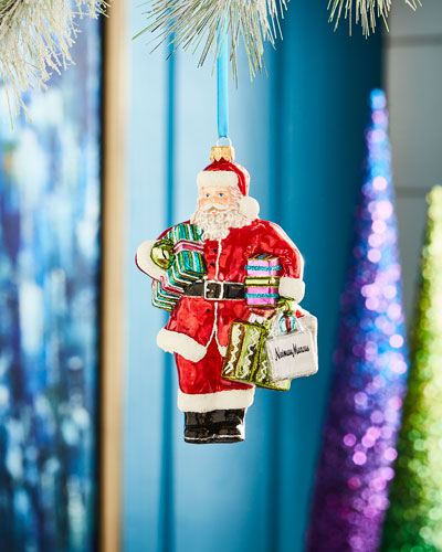 Playful Brights Collection Shopping Bag Santa Ornament