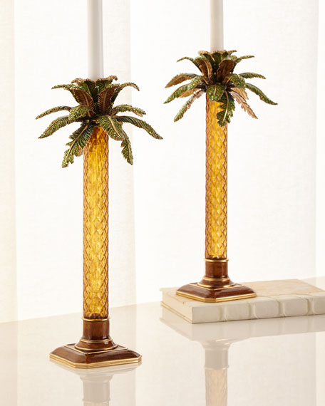 Jay Strongwater Palm Tree Jeweled Glass Candlestick