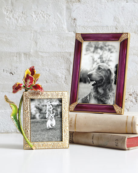 """Jay Strongwater Pave Corner Picture Frame Brocade, 4"""" x 6"""""""