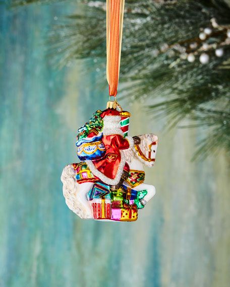 John Huras Santa on Carousel Ornament