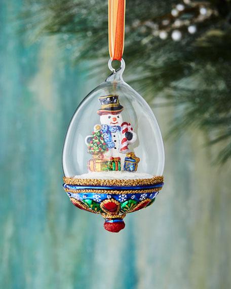 John Huras Snowman in Globe Ornament
