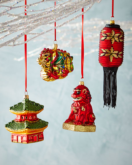 Asian-Inspired Ornaments, Set of 4