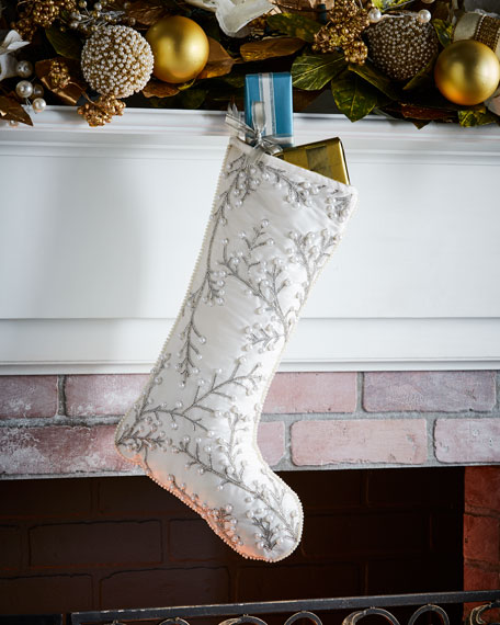 White & Silver Collection Christmas Stocking