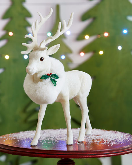 Ino Schaller White Reindeer Collectible, Large
