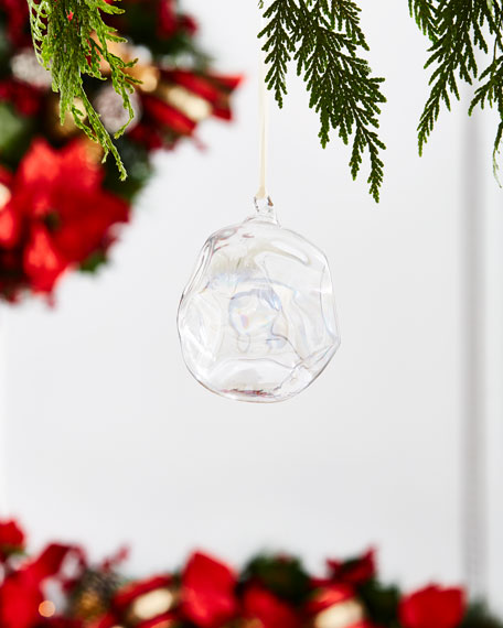 White & Silver Collection Iridescent Ball Ornament, 4""