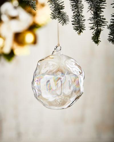 White & Silver Collection Iridescent Ball Ornament, 4.75