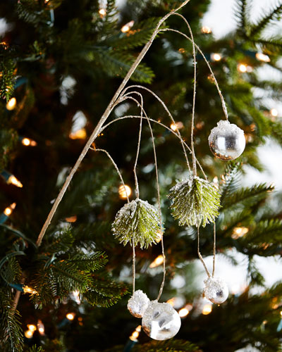 White & Silver Collection Hanging Pine/Ball Branch