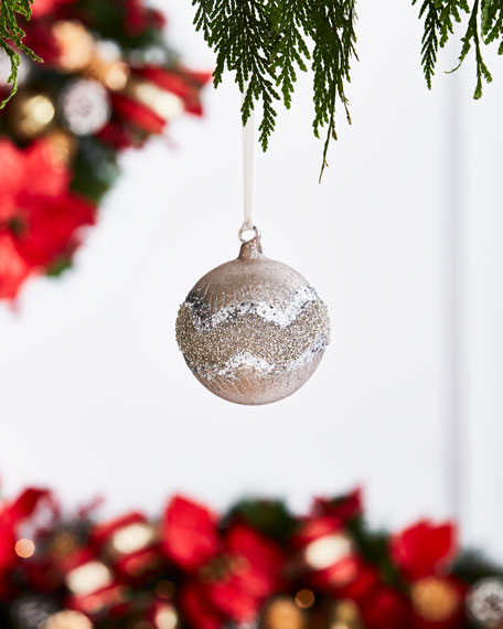 White & Silver Collection Matte Mocca Beaded Ball Ornament, 4.75""