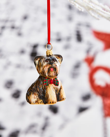 Yorkshire Terrier with Tartan Plaid Bowtie Ornament