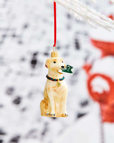 Yellow Lab with High-Top Sneaker Ornament
