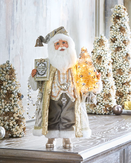 """Silver & Gold"" Lighted Santa"