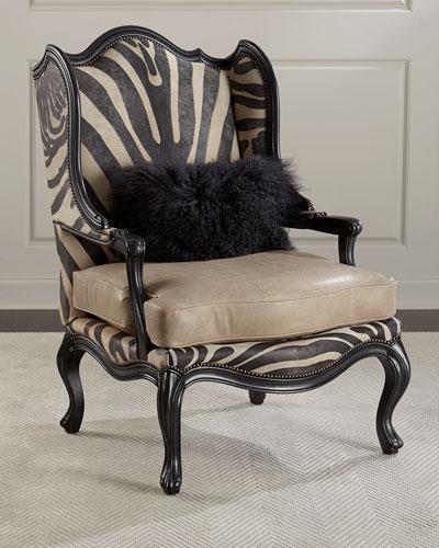Wilder Leather Zebra Wing Chair