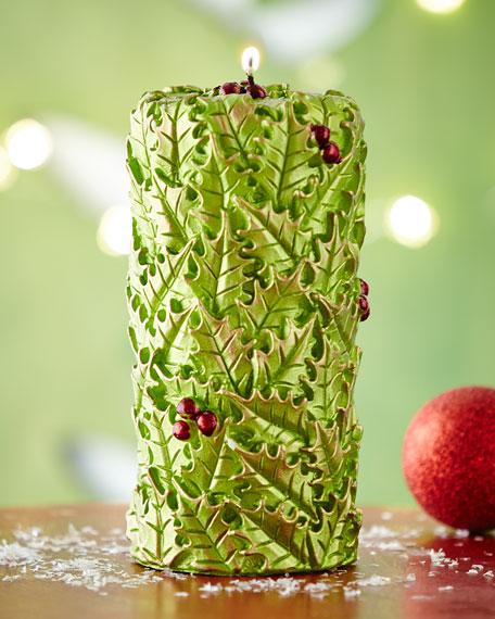 green holly candle pillar