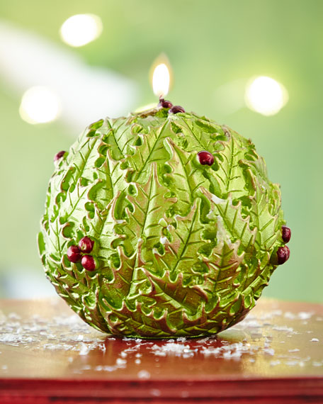 Green Holly Candle Ball