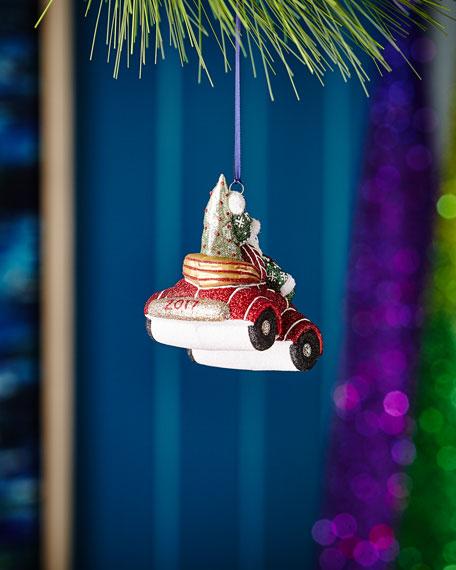 Winter Wheels 2017 Snowman in Car Christmas Ornament