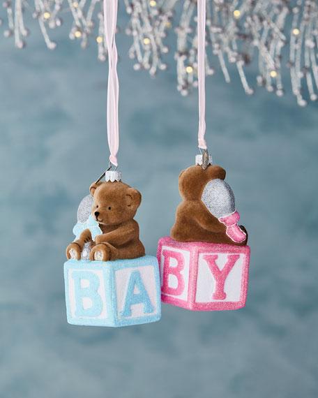 Bear on Block Ornament, Blue