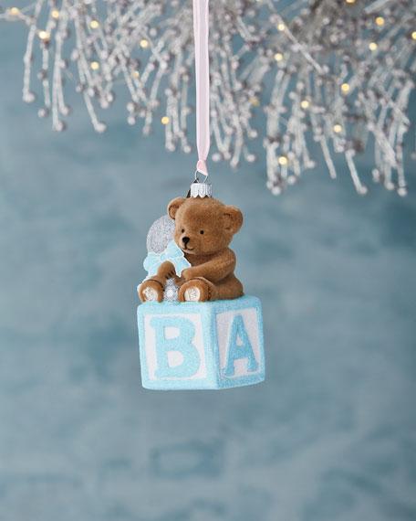 Mattarusky Ornaments Bear on Block Ornament, Blue