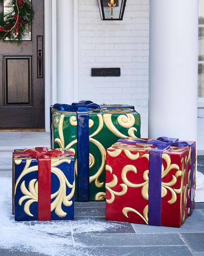 Outdoor Christmas Presents Decor, Set of 3