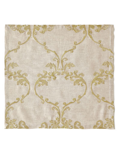 Caravan Embroidered Linen Napkin, Neutral Pattern