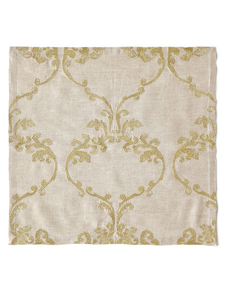 Kim Seybert Caravan Embroidered Linen Napkin, Neutral Pattern