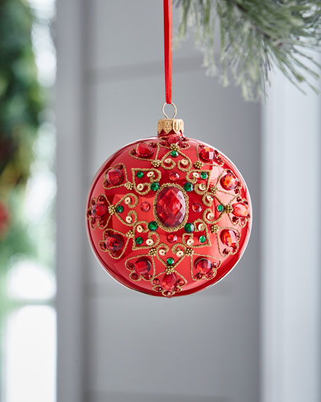 Red & Green Collection Pearlized & Beaded-Medallion Ornament