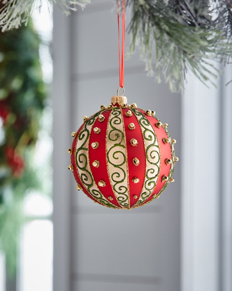 Red & Green Collection Swirls & Stripes Ball Ornament