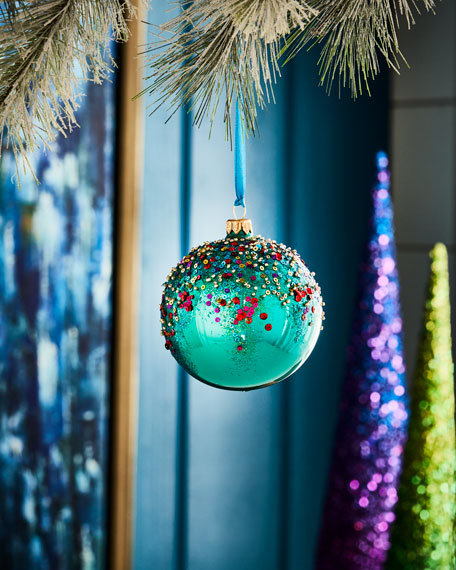 Silverado Playful Brights Collection Turquoise-Hue/Beaded Ornament