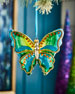 Image 2 of 2: Playful Brights Collection Green & Blue Butterfly Ornament, Large