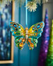 Image 1 of 2: Playful Brights Collection Green & Blue Butterfly Ornament, Large