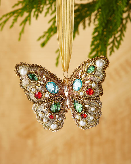 Golden/Faux-Jewel Butterfly Ornament