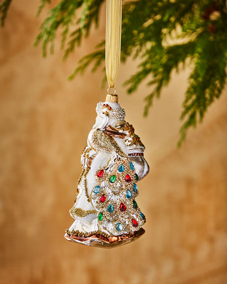 Santa with Faux-Jeweled Peacock Ornament