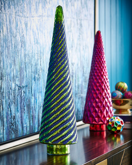 Playful Brights Collection Mercury Green Swirl Dotted Tree