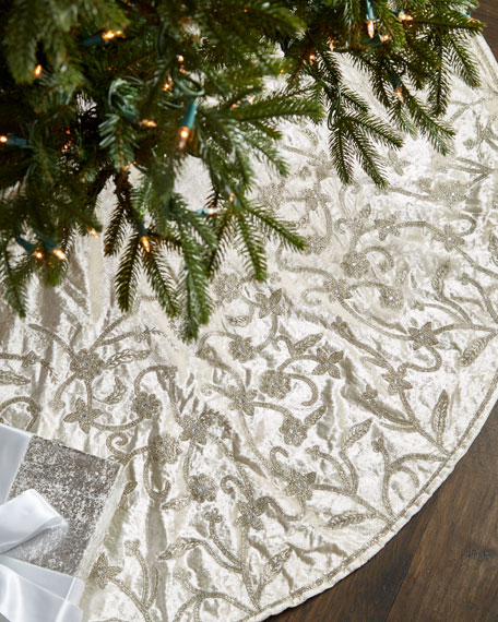 """Gold & Glitter Collection Velvet Tree Skirt, 60"""""""