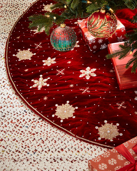 Hand-Embroidered Snowflakes Velvet Tree Skirt