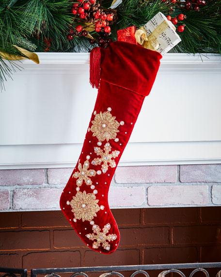Sudha Pennathur Hand-Embroidered Velvet Snowflake Stocking